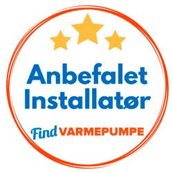 Recommended heat pump installer by Findvarmepumpe.dk